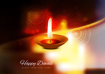 Burning Diya On Happy Diwali Card - vector gratuit #354891