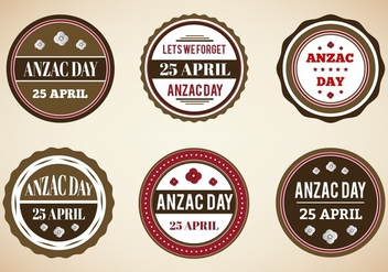 Free Vector Vintage Badges For Anzac Day - Free vector #355711