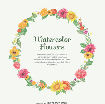 Watercolor flower crown - vector gratuit #355811