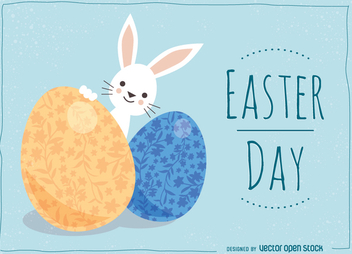 Easter card with cute bunny and ornamented eggs - Free vector #356051