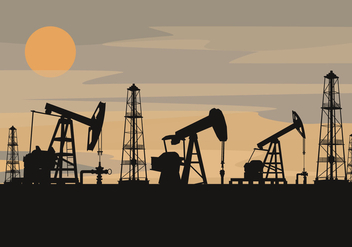 Oil Field Silhouette Vector - Free vector #357991
