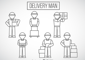 Delivery Man Outline Icons - Free vector #358391