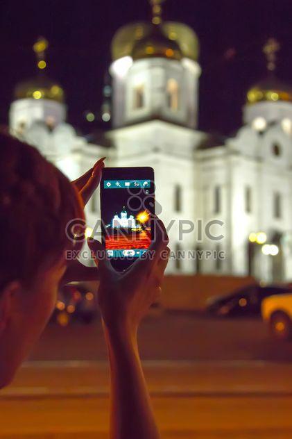 Храм в ночь с огнями, снятый на мобильный телефон. Пятигорск, Россия #churchru - бесплатный image #360371