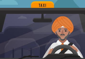 Vector Turban Man Taxi Driver - бесплатный vector #360421