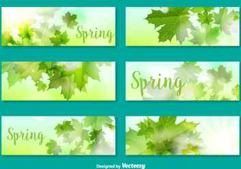Vector Banners/Cards With Decorative Leaves For Spring Season - Free vector #360781