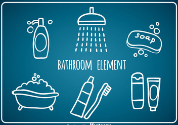 Bathroom Element Hand Draw Icons - vector gratuit #361171