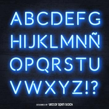 Realistic blue neon alphabet - Kostenloses vector #361331