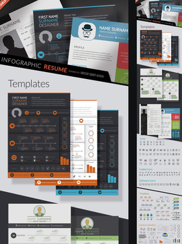 Infographic resume kit - vector #361421 gratis