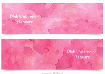 Free Pink Watercolor Banners Vector - бесплатный vector #361531
