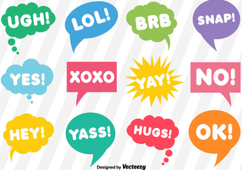 Vector Dialogue Bubbles With Short Expressions - Free vector #361811