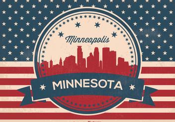 Retro Minneapolis Skyline Illustration - Kostenloses vector #362261