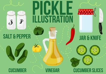 Free Kitchen Illustration with Pickle Vector Background - vector #362451 gratis