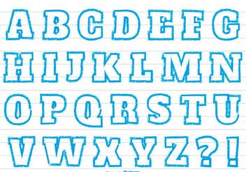 Blue Crayon Style Alphabet Set - vector gratuit #363081