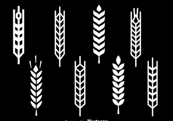 Wheat Stalk White Icons - vector gratuit #363291