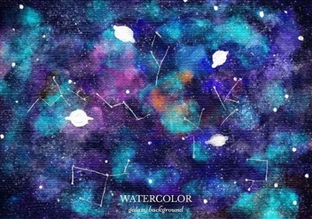 Free Vector Watercolor Galaxy Background - Free vector #363371