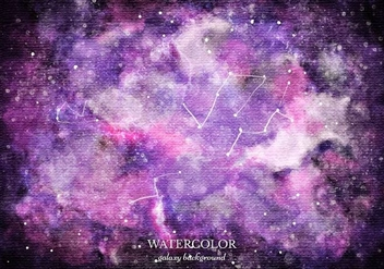 Free Vector Purple Watercolor Galaxy Background - Free vector #363391