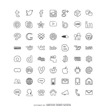 Social media icons collection - Free vector #363621
