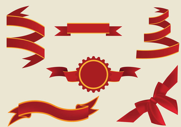 Decorative Red Sash Ribbons Vector - Free vector #364251