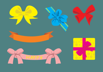 Cute Birthday Ribbons Vector - Free vector #364261