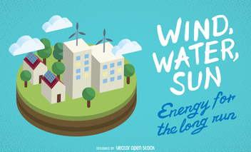 Wind, water, sun ecology banner - vector gratuit #364411