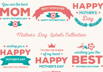 Cute Mother's Day Vector Labels - Free vector #365011