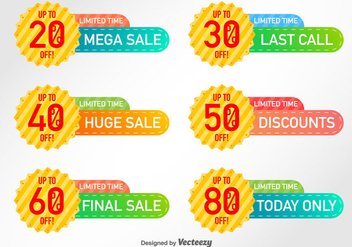 Set Of 6 Discount Labels Vector Elements - Free vector #365271