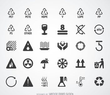 Recycling symbols and pictograms set - Free vector #365441