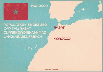 Retro Style Morocco Map Illustration - Free vector #365791