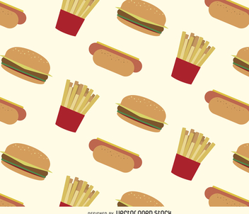 Hot dogs, hamburgers and fries pattern - Free vector #366331