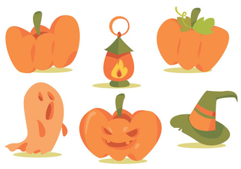 Halloween Pumpkin Patch Vector Set - Free vector #366441