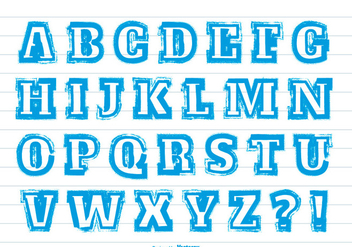 Messy Blue Paint Stroke Style Alphabet - Free vector #367771