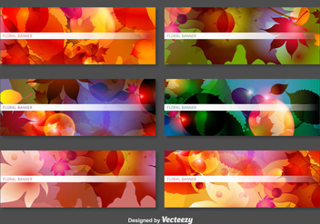Abstract Vector Banners With Laves And Flowers Decoration - vector gratuit #367991