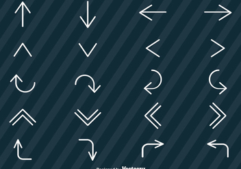 Vector Set Of Line Style Arrows Icons - vector gratuit(e) #368001