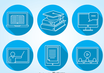 Online Education Icons Vector - Kostenloses vector #368561