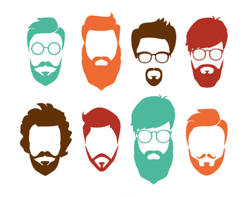 Hipster hairstyle set - vector #369211 gratis