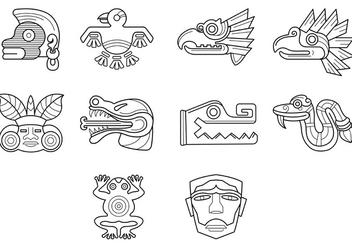 Set Of Quetzalcoatl Symbol Vector - Free vector #369271