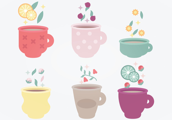 Tea Cups Vector Set - бесплатный vector #369771