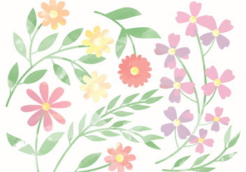 Vector Cute Watercolor Flower Elements - vector gratuit(e) #369911