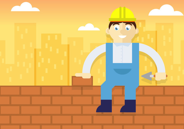 Bricklayer Illustration Vector - бесплатный vector #369991
