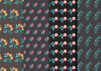 Moody Flower Vector Pattern Set - Free vector #370001