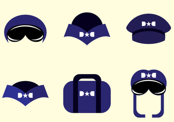 Avion Pilot Hat Vectors - бесплатный vector #370071