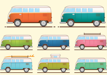 VW Camper Van Vectors - Free vector #370501