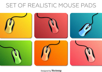 Vector Set Of Realistic Mouse On A Mouse Pad Elements - бесплатный vector #370941