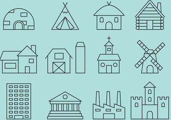 Building Line icons - vector gratuit #371361