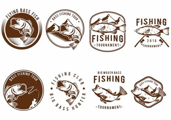Bass Fish Badge Set - Kostenloses vector #371741