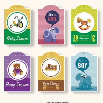 Baby shower gift tags - vector gratuit #372291