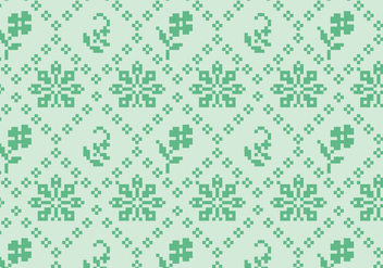 Stitching Green Floral Pattern - Free vector #372461