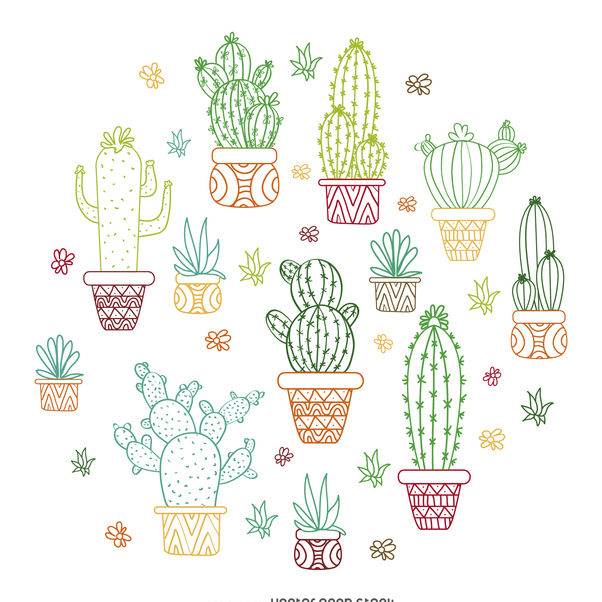 Cactus outline illustration - vector #372531 gratis