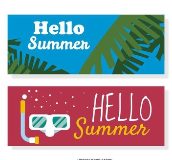 Hello summer banner set - vector gratuit #374001