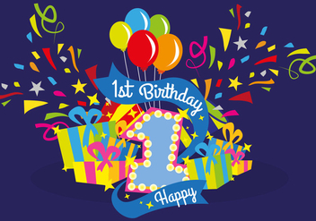First Birthday Vector Illustration - vector gratuit #374141